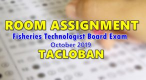 Room Assignment Fisheries Technologist Board Exam October 2019 (Tacloban)