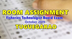 Room Assignment Fisheries Technologist Board Exam October 2019 (Tuguegarao)