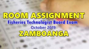 Room Assignment Fisheries Technologist Board Exam October 2019 (Zamboanga)