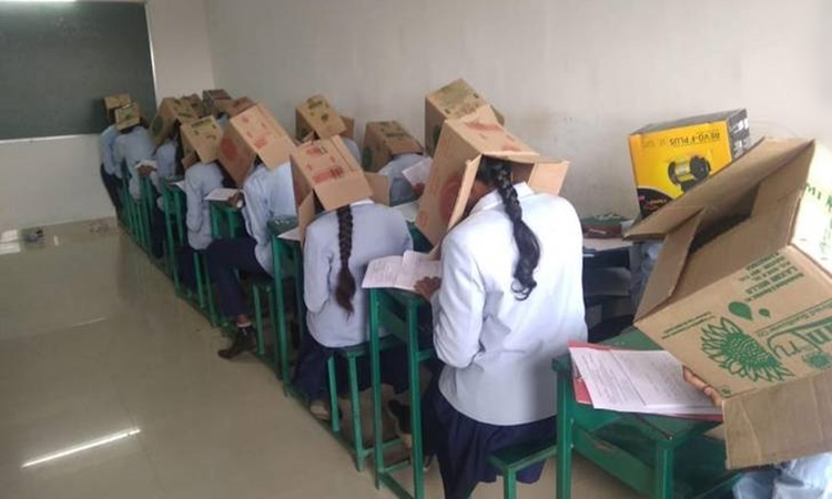 Students-with-box-on-head