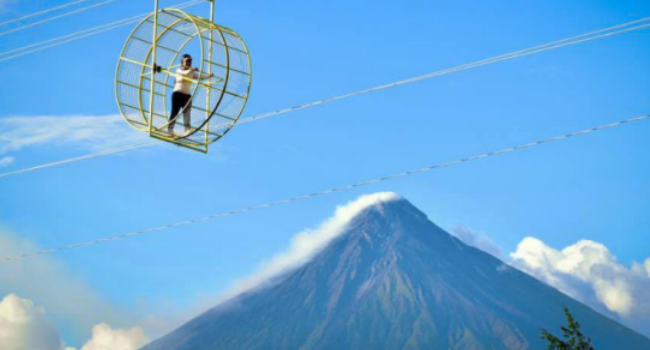 Hamster Wheel In The Sky Lets Guests Get A Great View Of Mt. Mayon
