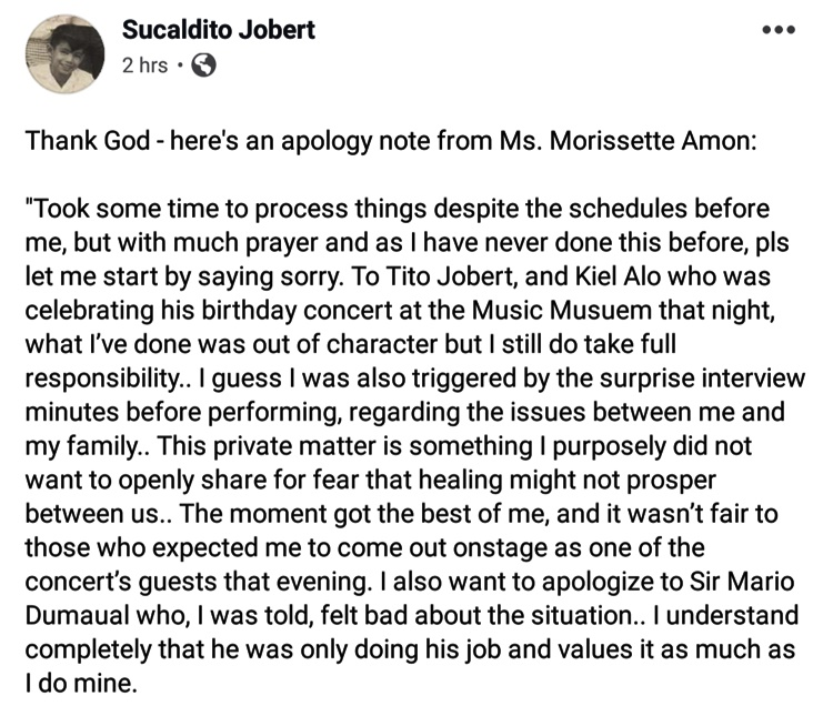 Morissette Amon Apology