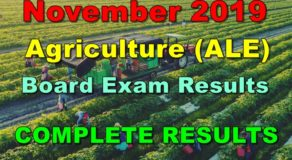 Agriculture Board Exam Results November 2019 – Complete Results