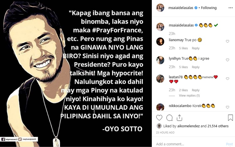 Oyo Sotto alleged statement