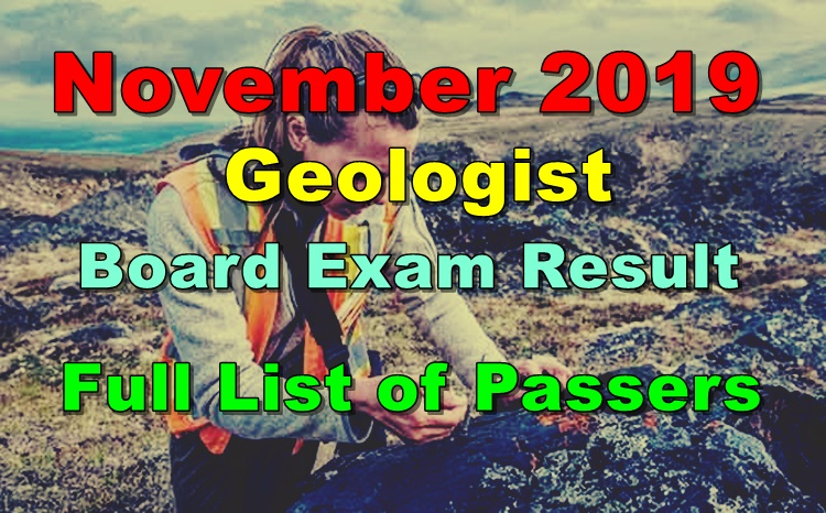 Geologist Board Exam Result