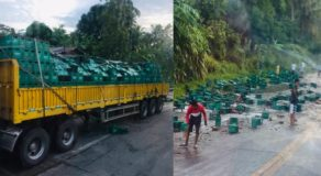 Bottles of Beers Scattered Along Cotabato-Davao Highway After Accident