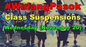 #WalangPasok: Class Suspension Declared in These Areas Today (Nov 20)