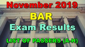 BAR Exam Results November 2019 – LIST OF PASSERS (A-H)