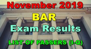 BAR Exam Results November 2019 – LIST OF PASSERS (I-Q)