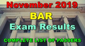 BAR Exam Results November 2019 – COMPLETE LIST OF PASSERS