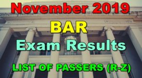 BAR Exam Results November 2019 – LIST OF PASSERS (R-Z)