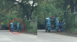 Photo: Tricycle Driver Kneel Down & Pray Amid Tremors in Davao Del Sur
