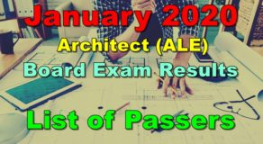 Architect Board Exam Result January 2020 – ALE List of Passers
