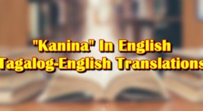 "Kanina In English: Tagalog-English Translation Of ""Kanina"""