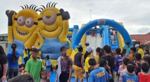 Volunteers Set Up Inflatable Playground For Young Taal Victims