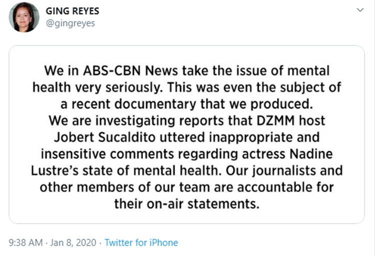 ging reyes statement jobert sucaldito-nadine lustre issue