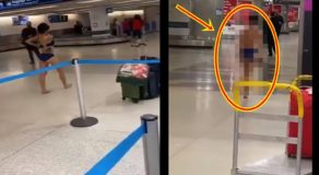 Crazy Woman Takes Off All Her Clothes at the Airport While Heading to Baggage Area