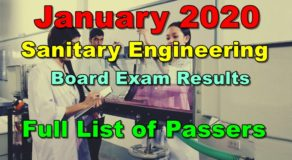 Sanitary Engineering Board Exam Results January 2020 – Full List of Passers