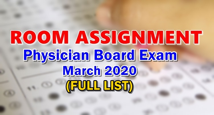 Room Assignment Physician Board Exam March 2020 Full List
