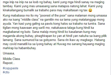 Middle Class Open Letter to Poorest of the Poor 2