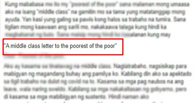 Middle Class Open Letter to Poorest of the Poor
