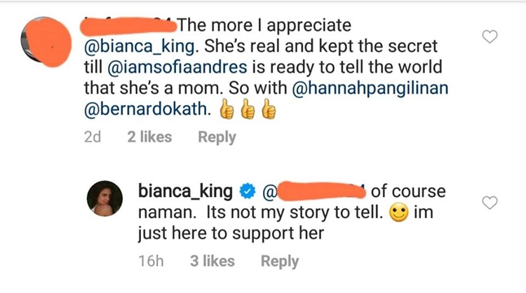 sofia andres bianca king comment