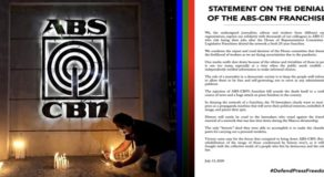 ABS-CBN: Journalists Statement On TV Networks' Franchise Rejection