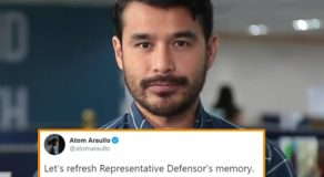 Atom Araullo Hits Representative Defensor Following ABS-CBN Issues