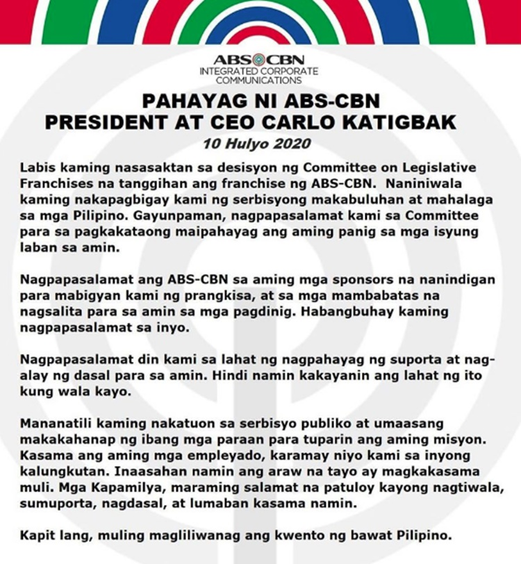 Carlo Katigbak Statement