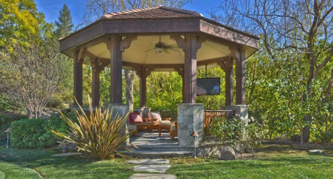 A Gazebo Is Located In The Center Of A Large, Circular Lawn (Answer)