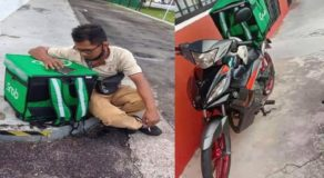 Deaf-Mute Grab Food Rider Almost Cry After his Motorcycle Gets Stolen