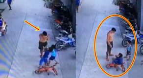 "Angry Man Slaps ""Pasaway"" Kid Who Pushed Another Child Riding a Bike"