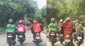 Food Panda Rider w/ Malfunctioning Motorcycle Helped by Other Delivery Riders