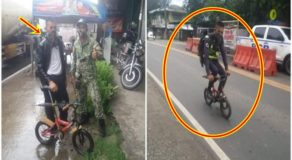 Poor Security Guard Using Kiddie Bike Receives Brand New Bike From Kind Cops