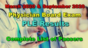 Physician Licensure Exam – PLE Results March 2020 & September 2020