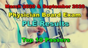 Physician Licensure Exam Results March & September 2020 – TOP 10 PASSERS