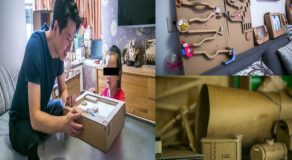 Loving Dad Uses Waste Cadboard to Make Hundreds of Toys for Daughter