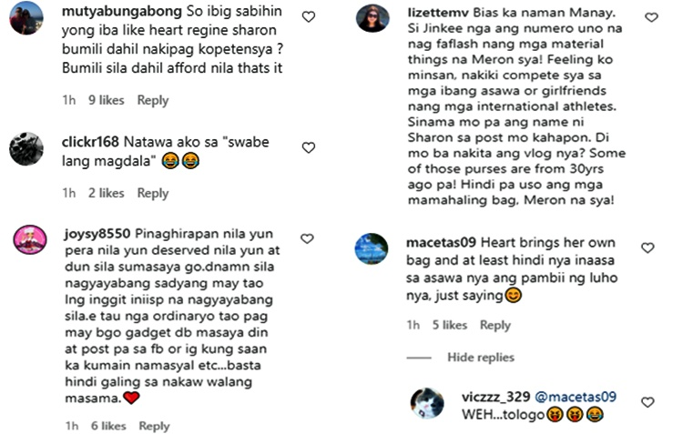 jinkee pacquiao luxury bags comments