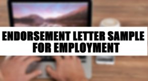 Endorsement Letter Sample For Employment