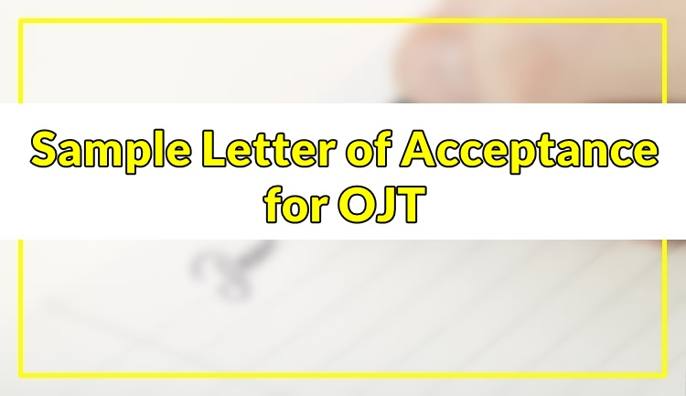 Sample Letter of Acceptance for OJT