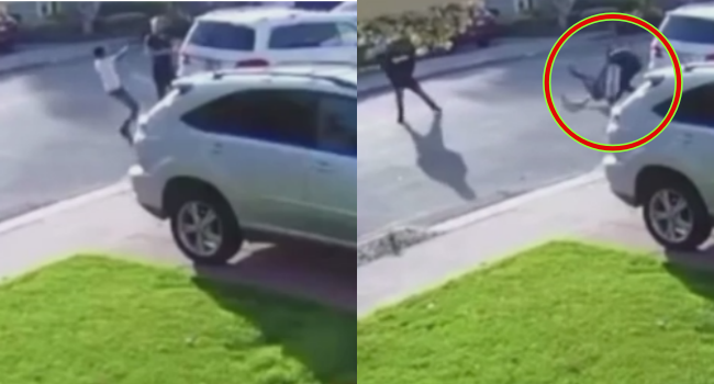 Armed Robber Squeals Like Pig After Victim Slams Him On The Ground