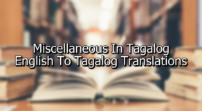 Miscellaneous In Tagalog – English To Tagalog Translations
