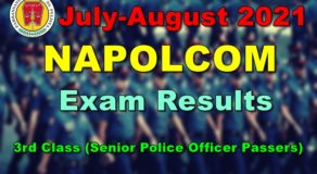NAPOLCOM Exam Results July-August 2021 – 3rd Class (Senior Police Officer Passers)