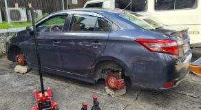 Unidentified Suspects Stole Vehicle's Wheels & Left Rocks as Wedges