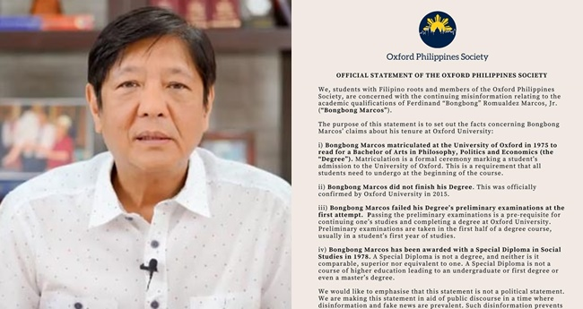 Oxford Philippines Society, Bongbong Marcos