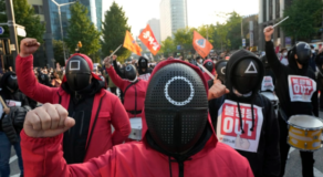 """Korean Workers Dress In """"Squid Game"""" Costume To Call For Better Rights"""
